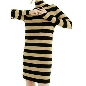 J Crew sweater dress Beige black striped
